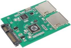 Переходник (адаптер) 2 x SD / SDHC / MMC на SATA (с поддержкой RAID 0)