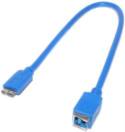 """Кабель - переходник USB 3.0 B """"мама"""" - USB Micro B (MicroB) """"папа"""", 0.3 м"""