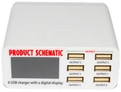 Зарядная станция (зарядное устройство) USB на 6 портов, 6А, с цифровым дисплеем