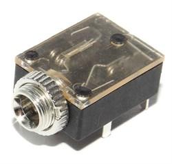 "Разъем Mini Jack 3.5 мм, на плату, стерео, ""гнездо"", с гайкой, прозрачный"