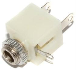 "Разъем Mini Jack 3.5 мм, под пайку, стерео, 3 pin, ""гнездо"", с гайкой, белый"