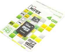 Карта памяти MicroSD, 4 Gb, Class 10, Mirex (с SD - адаптером)
