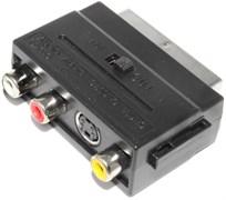 Переходник SCART - 3 x RCA (тюльпаны) / S-Video, с переключателем