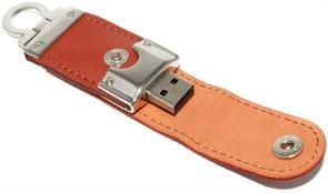 """Флешка USB оригинальная """"брелок"""", кожа, коричневая, 32Gb"""