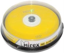 Диски для записи (болванки), DVD-R, 4.7 Gb, 16x, Mirex, упаковка 10 штук