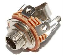"""Разъем Jack 6.3 мм, 1/4"""", металлический, на корпус, стерео, """"гнездо"""", с гайкой"""
