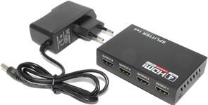 Разветвитель (делитель, сплиттер) HDMI, 1 вход 4 выхода, с питанием