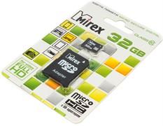 Карта памяти MicroSD, 32 Gb, Class 10, Mirex (с SD - адаптером)